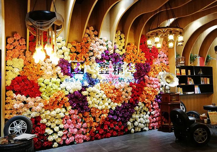 鲜花背景墙制作 长沙背发光字 室内广告发光形象墙